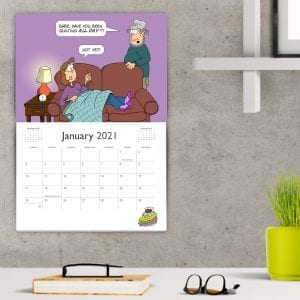 Twelve month 2021 wall calendar featuring By the Yard® comics, a comic for quilters! Follow the fiber-filled antics of Quilt Girl and Train Guy.
