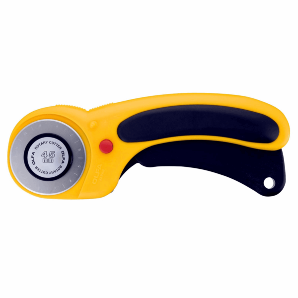 This Olfa rotary cutter is a combination of comfort, convenience, strength and safety.